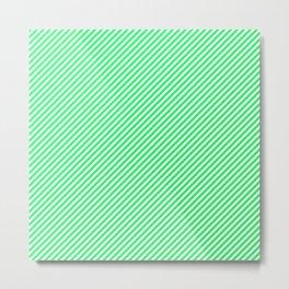 Lanai Lime Green - Acid Green and White Candy Cane Stripe Metal Print