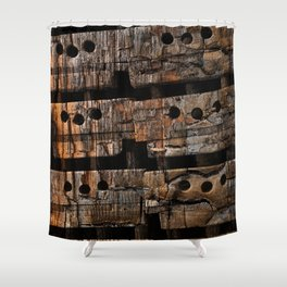 Charred Wood Boxes Shower Curtain