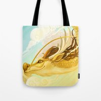 asian Tote Bags featuring Asian Dragon by Sunset Dragon