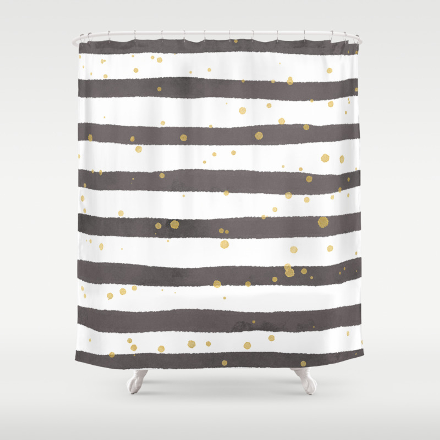 Modern Gray Yellow White Watercolor Splatters Stripes Shower Curtain
