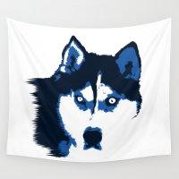 husky Wall Tapestries featuring Blue Husky  by Rachel Barrett