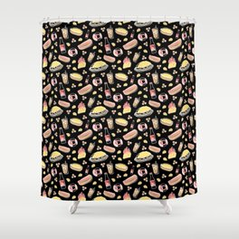 Skyline Chili Pattern Black Shower Curtain