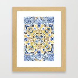 Wheat field with cornflower - mandala pattern Framed Art Print