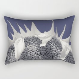 Macro Sunflower in Blue Infrared Rectangular Pillow