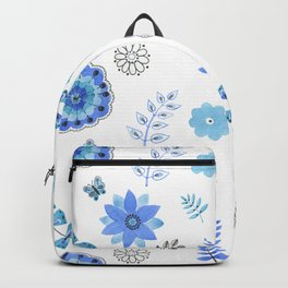 Blue Floral Pattern on White - Branches Backpack
