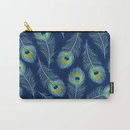 Luxe textured peacock feather on marine blue Carry-All Pouch