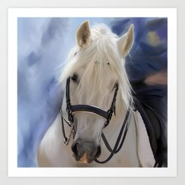 Painted White Horse head Art Print