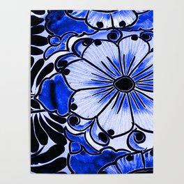 Indigo Blue Flower Poster