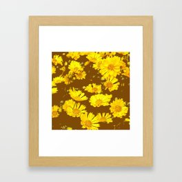 COFFEE BROWN & YELLOW COREOPSIS  FLORAL ART DESIGN Framed Art Print