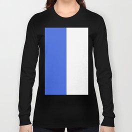 White and Royal Blue Vertical Halves Long Sleeve T-shirt
