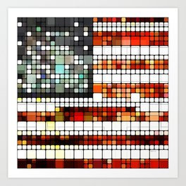 Retro Abstract American Flag Art Print