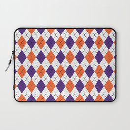 Argyle orange and purple pattern clemson football college university alumni varsity team fan Laptop Sleeve