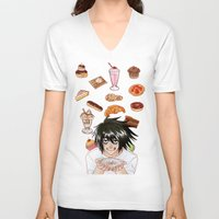 death note V-neck T-shirts featuring L from Death Note by Naineuh