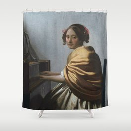 "Johannes Vermeer ""A Young Woman Seated at the Virginal"" Shower Curtain"