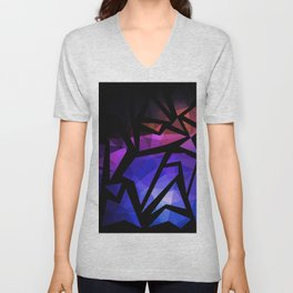 Abstract print of triangles polygon print. Bright dark design colors Unisex V-Neck