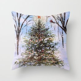 Woodland Winter Christmas Tree Watercolor Throw Pillow