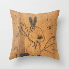 Cute little animal on wood Throw Pillow