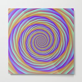Coiled Cables in Orange Blue and Pink Metal Print