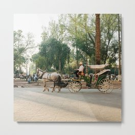 caleche / horse carriage in Marrakech Metal Print