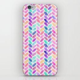 Rainbow Herringbone Watercolor Oblongs iPhone Skin