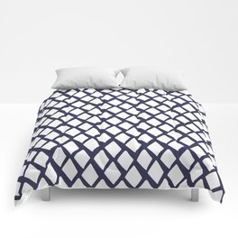 Rhombus White And Blue Comforters