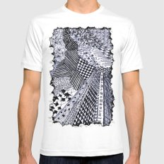 Zentangle 01 White MEDIUM Mens Fitted Tee
