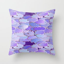 Japanese Clouds, Twilight, Violet and Deep Purple Throw Pillow