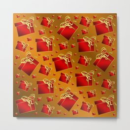 many small red gifts with golden bow on gold brown Metal Print