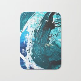 Crescendo: A vibrant abstract painting in blues and white by Alyssa Hamilton Art Bath Mat