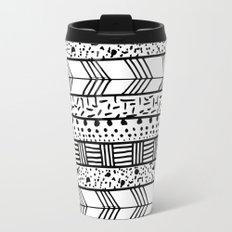 Chic black white hand drawn tribal pattern Travel Mug