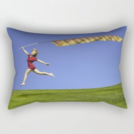 Freedom - A young girl jumping with a colorful kite banner on a clear blue sky day Rectangular Pillow