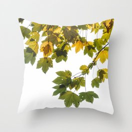 Green And Yellow Maple Leaf Throw Pillow