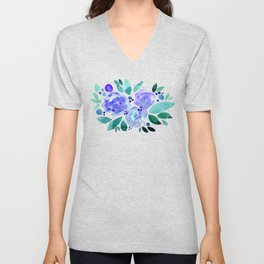 Abstract watercolor roses - blue and green Unisex V-Neck