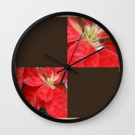 Mottled Red Poinsettia 1 Ephemeral Blank Q3F0 Wall Clock