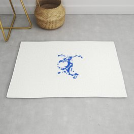 Blue And White Halloween Cat Rug