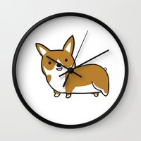 corgi Wall Clocks featuring Corgi by Chloe Meister