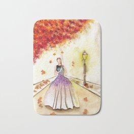 Autumn Girl Watercolor Illustration. Bath Mat