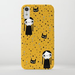 goth girl with her cat iPhone Case