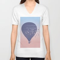 hot air balloon V-neck T-shirts featuring Hot Air Balloon (P) by HeyAle!
