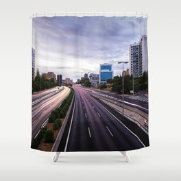 Motorway in Madrid at sunset Shower Curtain