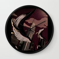 carnage Wall Clocks featuring Whale Carnage by Earnestly Elsewhere