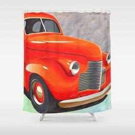 Vintage Orange Hot Rod by Liane Wright Shower Curtain