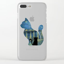 Cat Watching The Starry Night Over The Rhone - Van Gogh Painting Clear iPhone Case