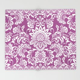 Damask in cyclamen Throw Blanket