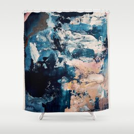 Sweetly: a bohemian, abstract work on paper in blue, pink, white, and gold Shower Curtain