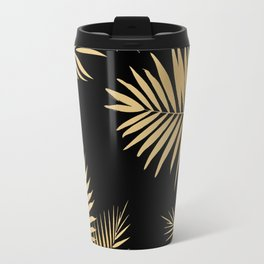 Golden and Black Palm Leaves Travel Mug