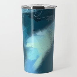 Midnight Blossom: an abstract, mixed media piece in dark and light blue / greens by Alyssa Hamilton Travel Mug