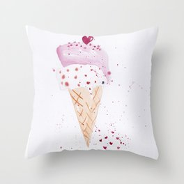 Ice cream Love watercolor illustration summer love pink strawberry Throw Pillow