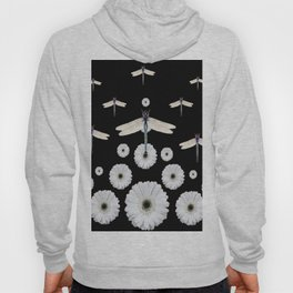 SURREAL WHITE DRAGONFLIES FLOWERS BLACK COLOR PATTERNS Hoody