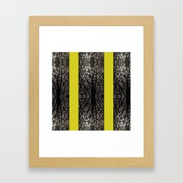 Gothic tree striped pattern mustard yellow Framed Art Print